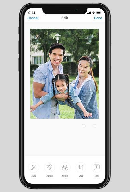 In-app photo editing