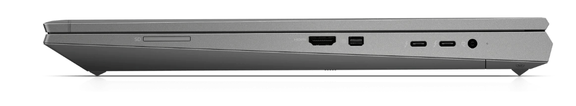 HP Zbook Laptop side view, showing available ports